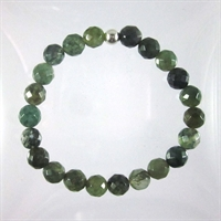 Moss Agate Faceted 8mm Classic Elastic Bracelet